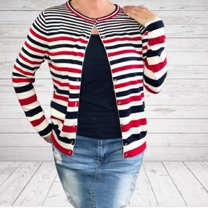 Land's End Red White & Blue Striped Cotton Sweater